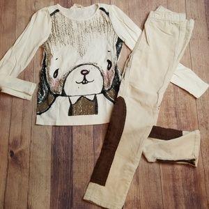 H&M Ivory Bunny Top and Corduroy Jodhpur pants